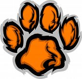 stock photo of paws  - Tiger Paw Graphic Mascot Vector Illustration Image - JPG
