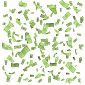 Isolated On White Money Rain Fall Earnings Luck Fortune Banknote Flying Floating Confetti 3d Realist poster