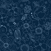 Blue floral seamless pattern
