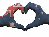 Heart And Love Gesture In Australia Flag Colors By Hands Isolated On White