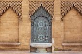 Morocco. Decorated Fountain With Mosaic Tiles ( Zellige ) At The Mohammed V Mausoleum In Rabat Moroc poster