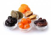 pic of dry fruit  - Dried fruits in bowls isolated on white - JPG