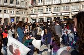 GUIMARAES, PORTUGAL - FEBRUARY 11: European Capital of Culture 2012 in Guimaraes, Portugal. Pillow fight on Toural, Main Square, february 11, 2012 in Guimaraes, Portugal