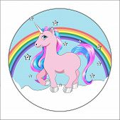 Funny Little Unicorn Pony With Pink And Blue Mane, And Stars, Unicorn Happy Birthday Card, Cake Pict poster