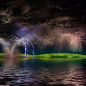 Flooded stormy landscape