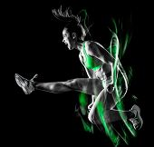 one mixed race woman exercising fitness exercises isolated on black background with lightpainting ef poster