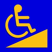 Disabled Signs Blue Colors Frame Background, Sign Boards Of Disability Slope Path Ladder Way Sign Ba poster
