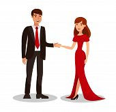 Rich Couple On Romantic Date Vector Illustration. Man In Suit With Tie And Woman In Evening Dress Ca poster