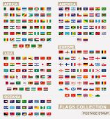 Postage Stamp With Flags Of The World. Set Of 228 World Flag. Vector Illustration. poster
