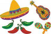 Sombrero, Guitarra, Maracas, pimientos