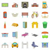 Metropolis Icons Set. Cartoon Set Of 25 Metropolis Icons For Web Isolated On White Background poster