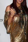 LOS ANGELES, CA - 13 de FEB: Perla Hudson en la fiesta del GRAMMY EMI Studios de leche el 13 de febrero,