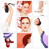 Collage with seven shots of flamenco accessories and dancer on white background. Passion, dance, ent