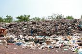 Mountain Garbage, Large And Degraded Garbage Pile, Pile Of Stink And Toxic Residue, Waste Plastic Bo poster