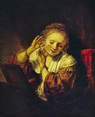 USSR - CIRCA 1981: Postcard shows draw by Rembrandt van Rijn - Young Woman with Earrings, Hermitage,