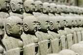 Rows of the small japanese Jizo statues