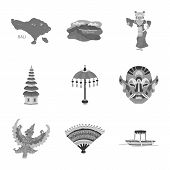 Vector Illustration Of Asian And Geography Symbol. Collection Of Asian And Tourism Stock Symbol For  poster