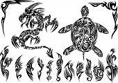 Dragon and Turtle Tattoo Set Vector Illustration