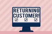 Handwriting Text Returning Customer. Concept Meaning Customer Returns Again And Again To Purchase A  poster