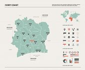 Vector Map Of Ivory Coast. High Detailed Country Map With Division, Cities And Capital Yamoussoukro. poster