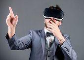 Innovation And Technological Advances. Business Implement Modern Technology. Businessman Explore Vir poster