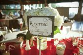 Reserved Sign at Wedding Reception