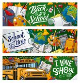 I Love School, Welcome Back To School To Start Studying. Vector Means Of Education, Stationery Items poster
