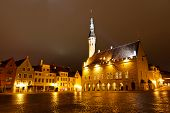 stock photo of city hall  - Tallinn Town Hall at Night in Raekoja Square in Estonia - JPG