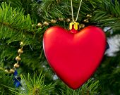 The Christmas-tree Decoration In The Form Of Red Heart.