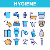 Hygiene, Cleaning Thin Line Icons Vector Set. Sanitary, Personal Hygiene Linear Illustrations. Bathr poster