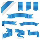 Set Of Blue Ribbon Banner Icon,blue Web Ribbons Set With Gradient Mesh On White Background poster
