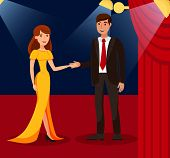 Rich Couple On Red Carpet Flat Color Illustration. Young Woman In Dress And Man In Suit Cartoon Char poster
