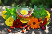 Glass cup with herbal tea and flower