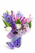 bouquet spring flowers with decorative butterflies isolated on white background