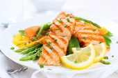 stock photo of plate fish food  - grilled salmon with asparagus - JPG