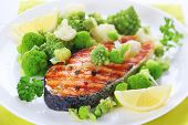 image of plate fish food  - grilled salmon with broccoli and cauliflower on white plate - JPG