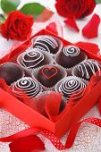 Delicious chocolate pralines  in red box for Valentine's Day