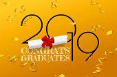 Congrats Graduates. Lettering For Graduation Class Of 2019. Vector Text For Graduation Design, Congr poster
