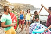 Young Friends Vacationer Having Fun At Natural Pool On Travel Location - Happy Millenial People Danc poster