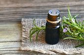 Rosemary Essential Oil In A Glass Dropper Bottle With Fresh Green Rosemary Herb On Old Wooden Table  poster