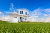 Beautiful Custom House Drawing and Ghosted House Above Green Landscape. poster