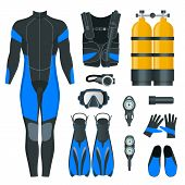 Mans Scuba Gear And Accessories. Equipment For Diving. Idiver Wetsuit, Scuba Mask, Snorkel, Fins, Re poster