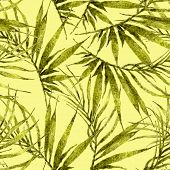 Tropical Seamless Pattern. Watercolor Chaotic Palm Leaves, Japanese Bamboo. Yellow Exotic Swimwear D poster