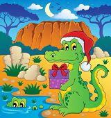picture of crocodilian  - Christmas crocodile theme image 2  - JPG