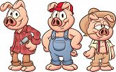 Three little pigs. Vector illustration with simple gradients. Each in a separate layer for easy edit