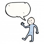 cartoon stick man with speech bubble