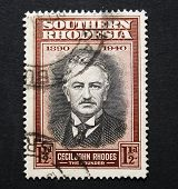 Vintage Postage Stamp With Image Of Cecil John Rhodes