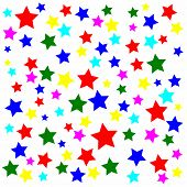 Lots of multicolored stars on a white background.