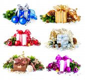 Christmas Gift Box Set. Collage of Six Colorful New Year's Gifts isolated on White Background. Prese