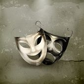 Theater masks, old-style vector